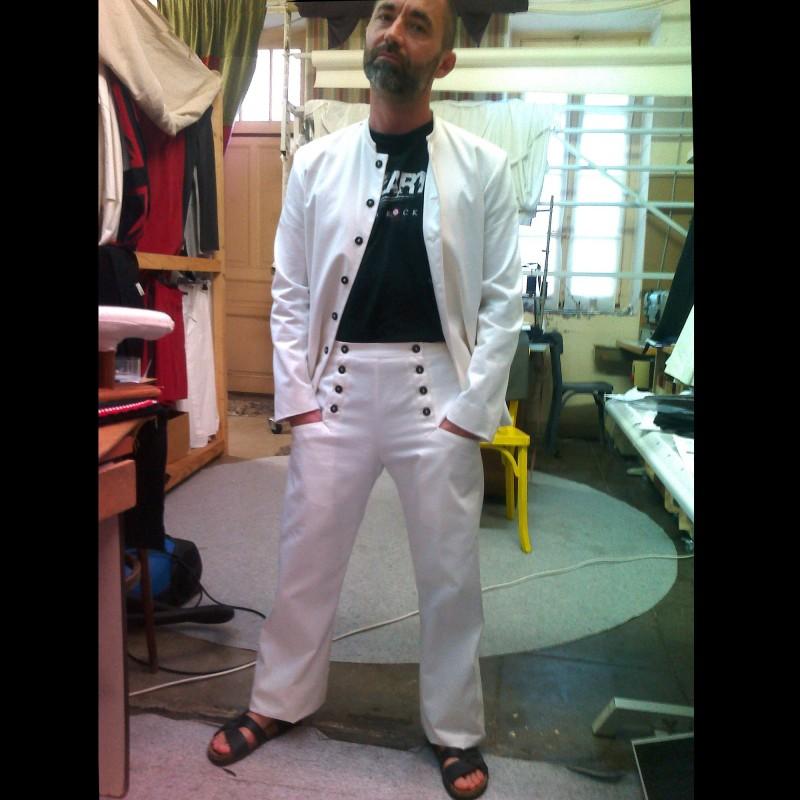 Pantalon à ponts mixte blanc