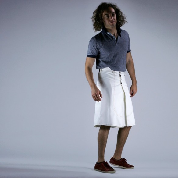 Tennis style male skirt white twill