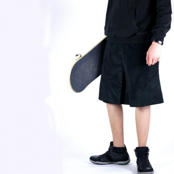 Skate style male skirt black velvet