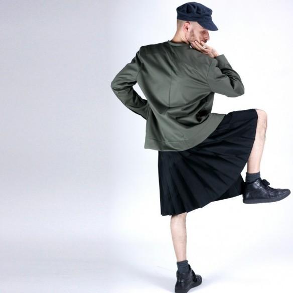 Veste à col mao kaki