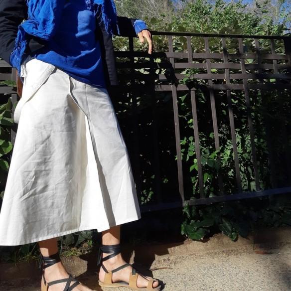 unigender white maleskirt with straps