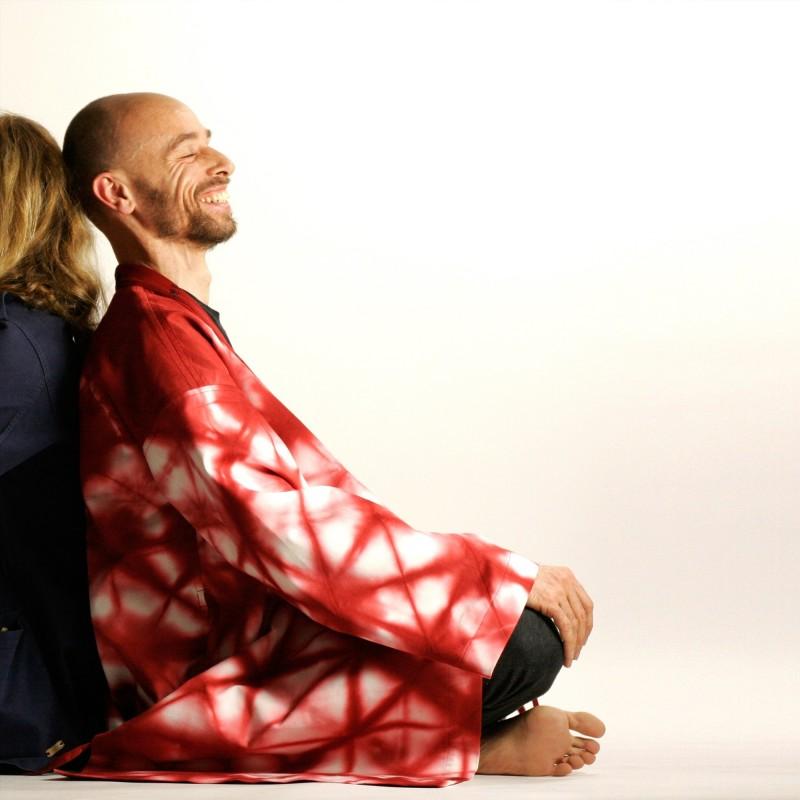 Kimono Shibori Rouge Unisexe