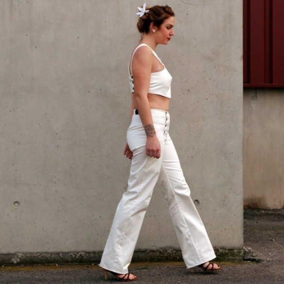 Pantalon à ponts mixte blanc