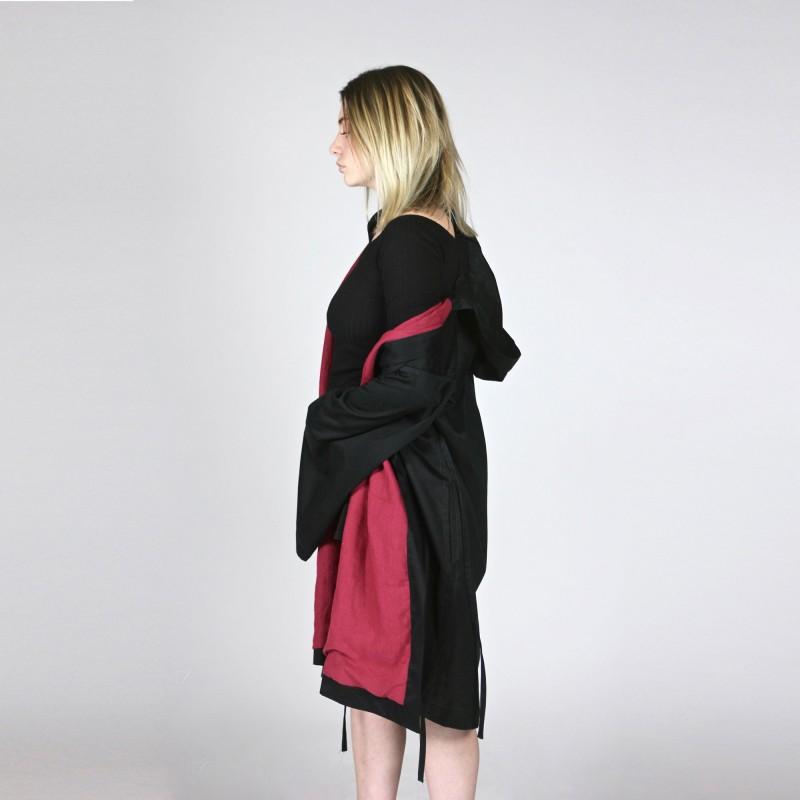 kimono manteau structuré à capuche