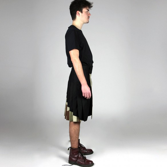 two fabrics army asymetrical kilt for man