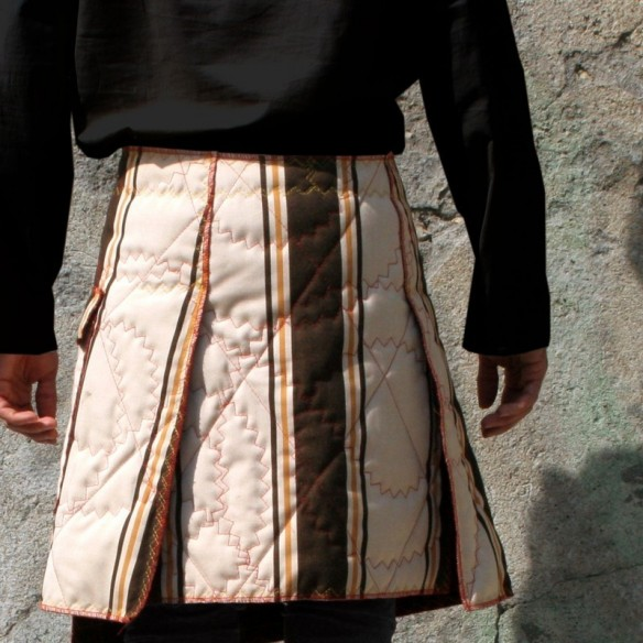 quilted maleskirt in recycled canvas