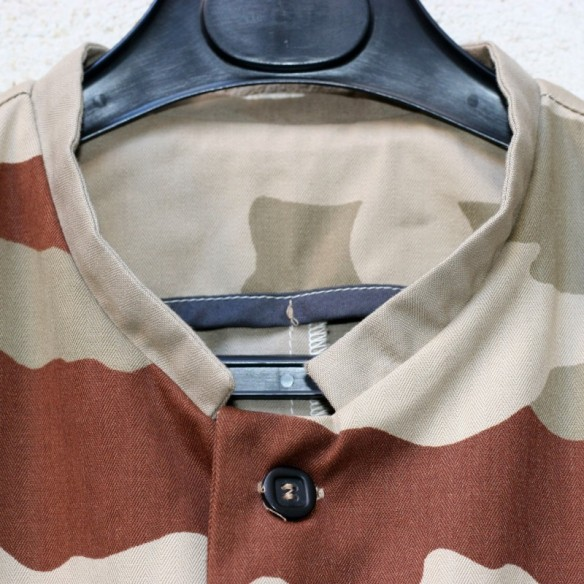 mao collar jacket with army twill