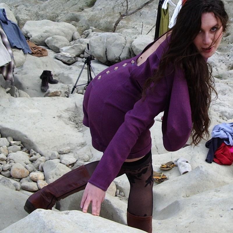 Combi-short femme violet en chanvre...