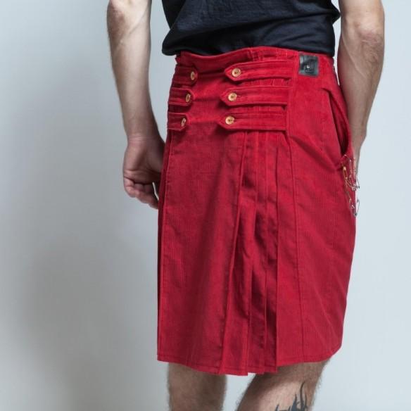 neo kilt style anglais velours rouge