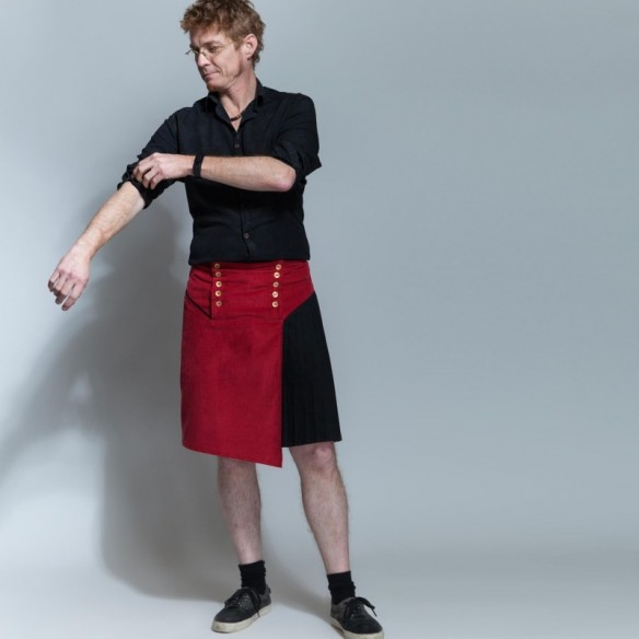 two-fabrics asymetrical male kilt