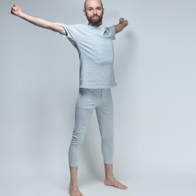 Leggings gris à boutons