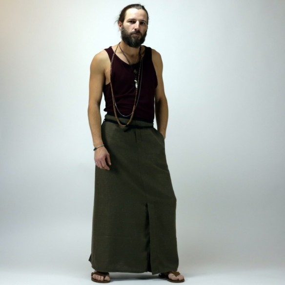 ethnic style maleskirt for summer in linen