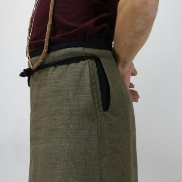 hakama bicolore en lin européen style tablier