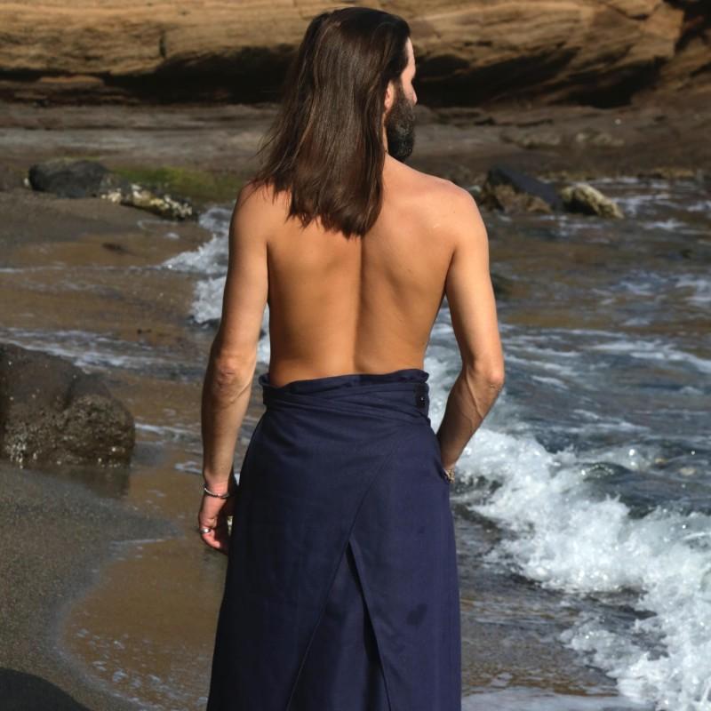 hakama bleu d'été dos croisé séchage rapide