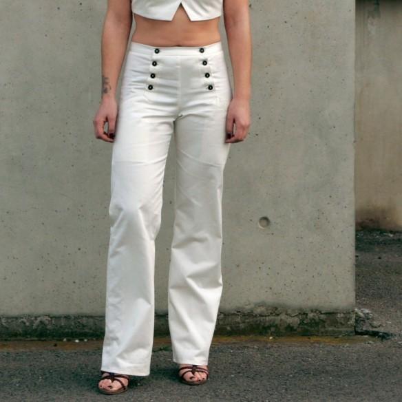 Pantalon à pont blanc