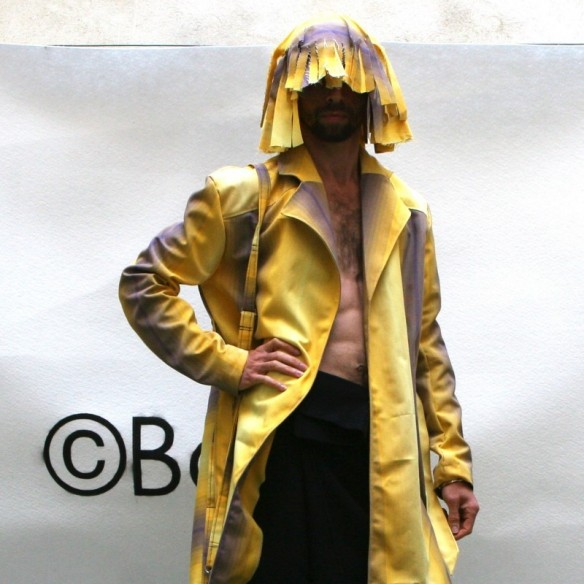 Trench mixte rayé jaune